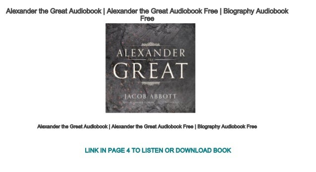 Biography alexander the book great