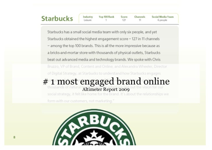 # 1 most engaged brand online          Altimeter Report 2009