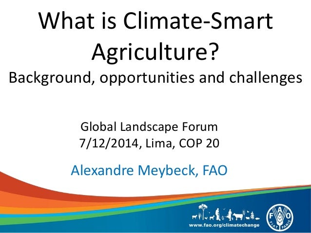 What is Climate-Smart Agriculture? Background, opportunities and challenges  Global Landscape Forum 7/12/2014, Lima, COP 2...