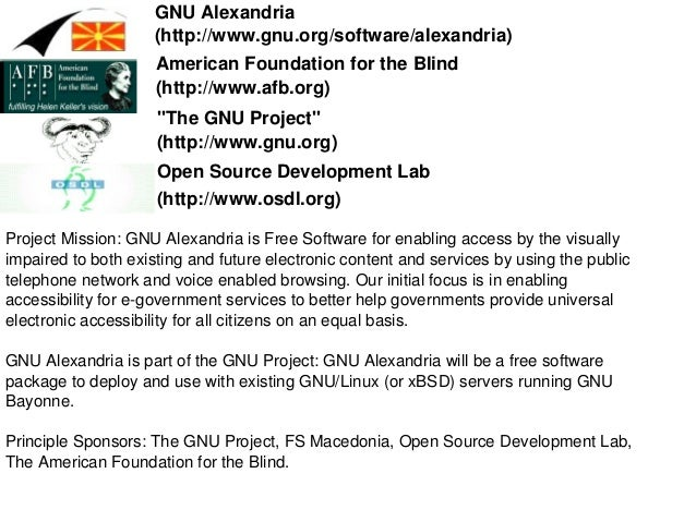 GNU Alexandria  (http://www.gnu.org/software/alexandria)  Project Mission: GNU Alexandria is Free Software for enabling ac...