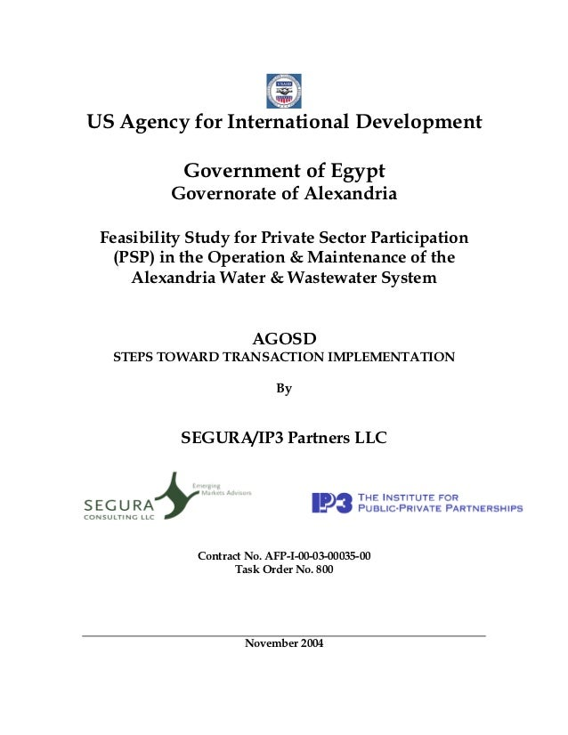 US Agency for International Development            Government of Egypt          Governorate of Alexandria Feasibility Stud...