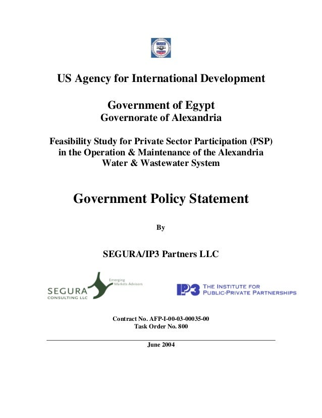 US Agency for International Development              Government of Egypt            Governorate of AlexandriaFeasibility S...
