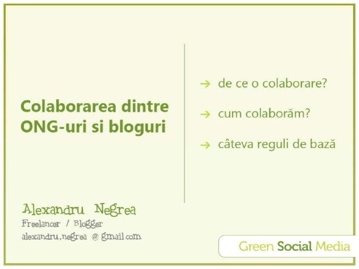 Colaborarea dintre ONG-uri şi bloguri