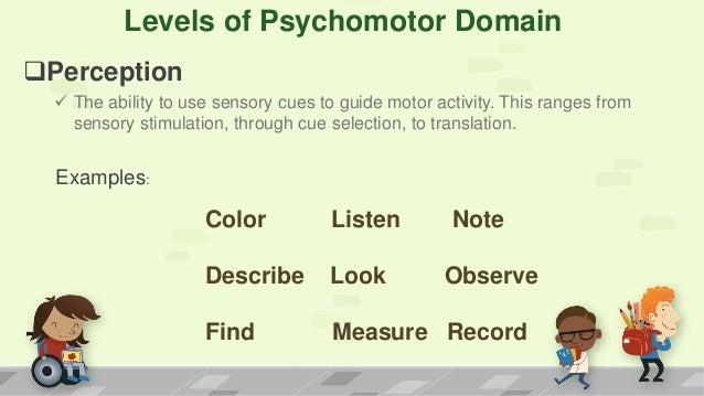psychomotor domain Psychomotor domain- the psychomotor domain includes physical movement,  coordination, and use of the motor-skill areas development of these skills.