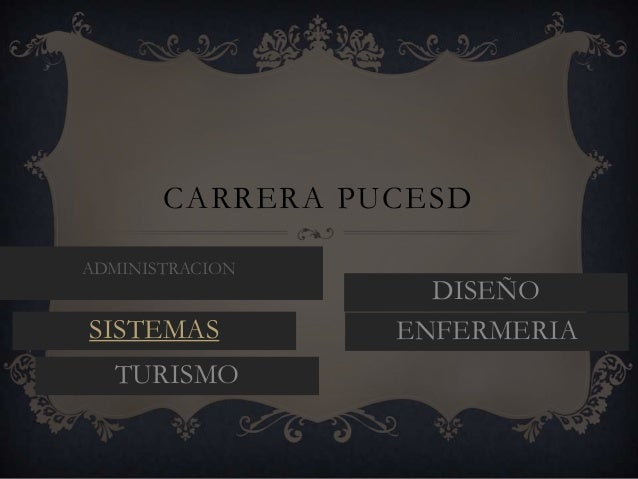 CARRERA PUCESD ADMINISTRACION  SISTEMAS TURISMO  DISEÑO ENFERMERIA