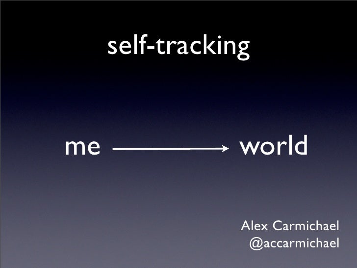 self-tracking   me               world                   Alex Carmichael                   @accarmichael