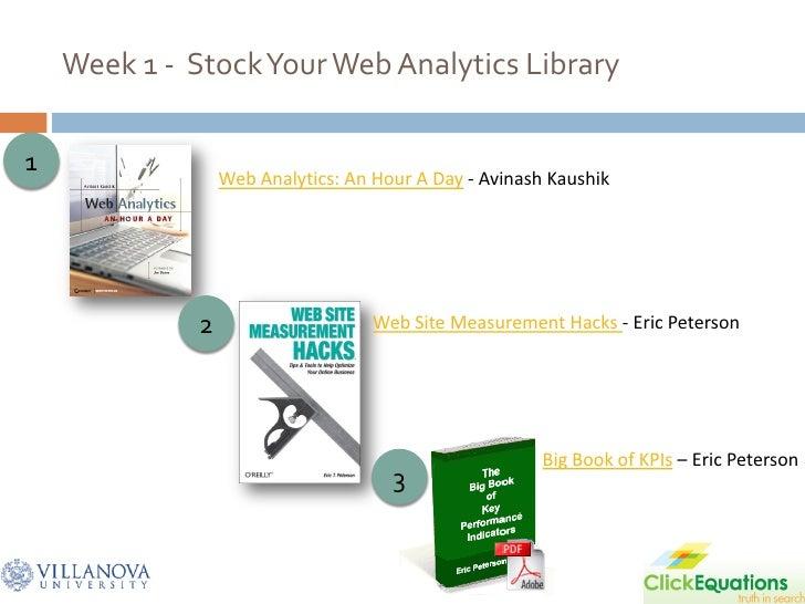 Week 1 - Stock Your Web Analytics Library  1                   Web Analytics: An Hour A Day - Avinash Kaushik             ...