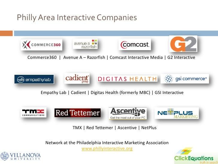 Philly Area Interactive Companies      Commerce360 | Avenue A – Razorfish | Comcast Interactive Media | G2 Interactive    ...