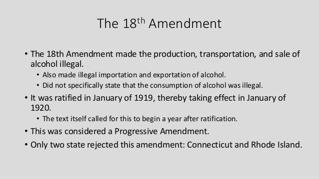 reasons after the 18th amendment The 18th amendment is often called the prohibition amendment discover how the eighteenth amendment was ratified and later repealed, and more to surprise.