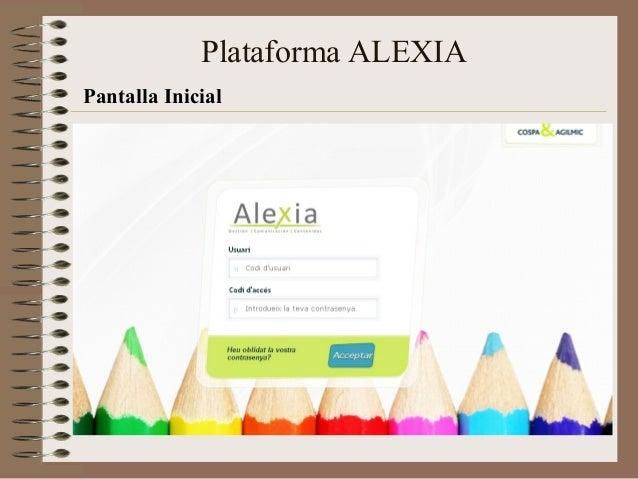 Pantalla Inicial Plataforma ALEXIA