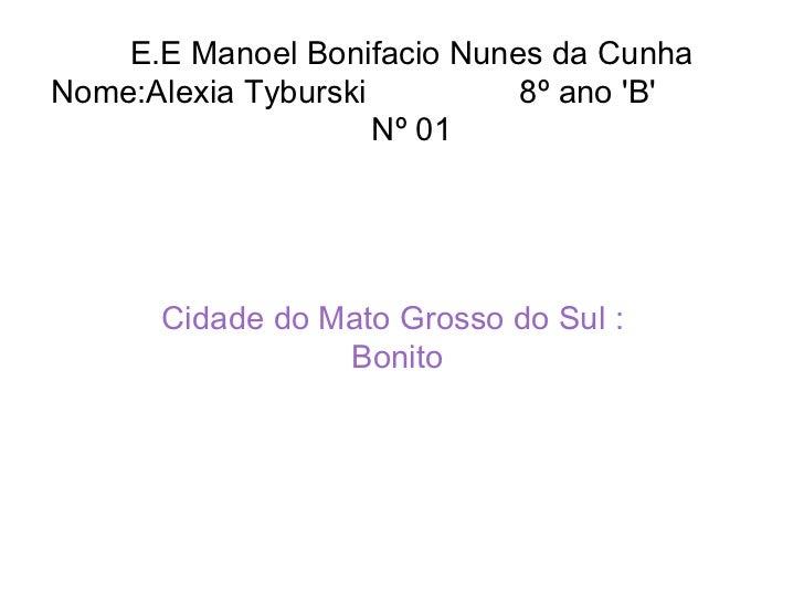 E.E Manoel Bonifacio Nunes da Cunha  Nome:Alexia Tyburski  8º ano 'B'  Nº 01  Cidade do Mato Grosso do Sul : Bonito