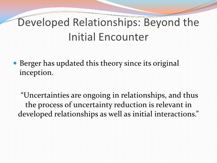 Developed Relationships: Beyond the Initial Encounter <br />Berger has updated this theory since its original inception.<b...