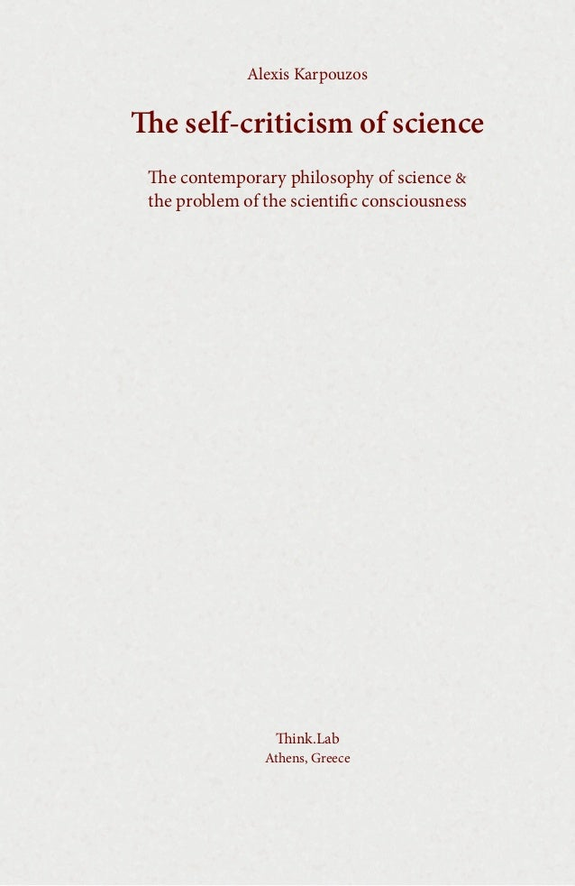 Alexis Karpouzos  e self-criticism of science e contemporary philosophy of science & the problem of the scientific consc...