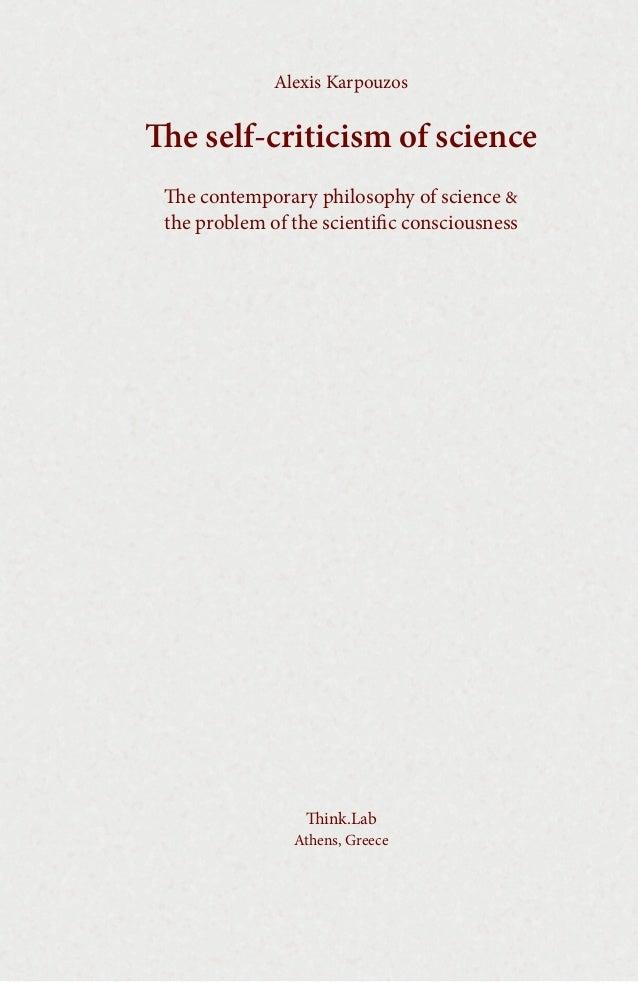Alexis Karpouzos  e self-criticism of science e contemporary philosophy of science & the problem of the scientific consc...