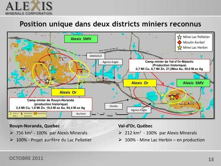 Position unique dans deux districts miniers reconnus                                                                      ...
