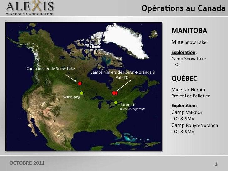 Opérations au Canada                                                                       MANITOBA                       ...
