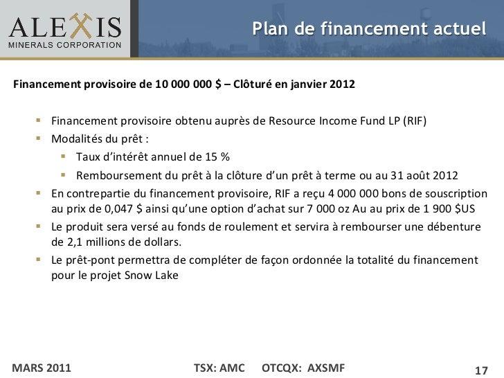 Plan de financement actuelFinancement provisoire de 10 000 000 $ – Clôturé en janvier 2012 • Click to edit Master text sty...