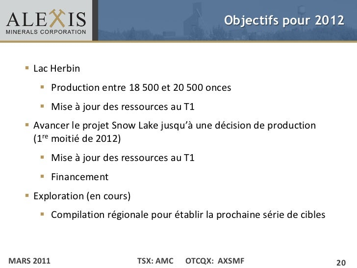 Objectifs pour 2012• Click to edit Master text styles    Lac Herbin    – Second level         •Production entre 18 500 e...