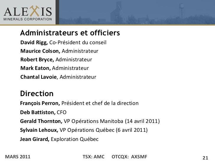 Administrateurs et officiers• Click to edit Master text styles    – David Rigg, Co-Président du conseil        Second leve...