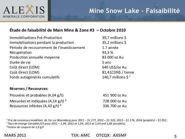 Mine Snow Lake – Faisaibilité  Étude de faisabilité de Main Mine & Zone #3 – Octobre 2010• Click to edit Master text style...