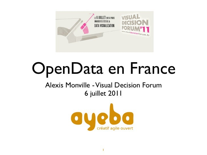 OpenData en France Alexis Monville - Visual Decision Forum              6 juillet 2011                    1