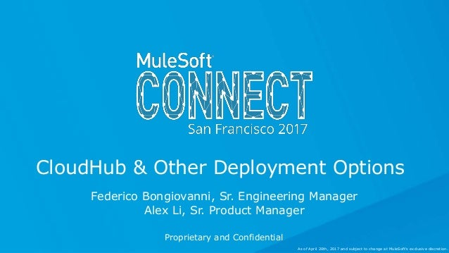Federico Bongiovanni, Sr. Engineering Manager Alex Li, Sr. Product Manager CloudHub & Other Deployment Options Proprietary...