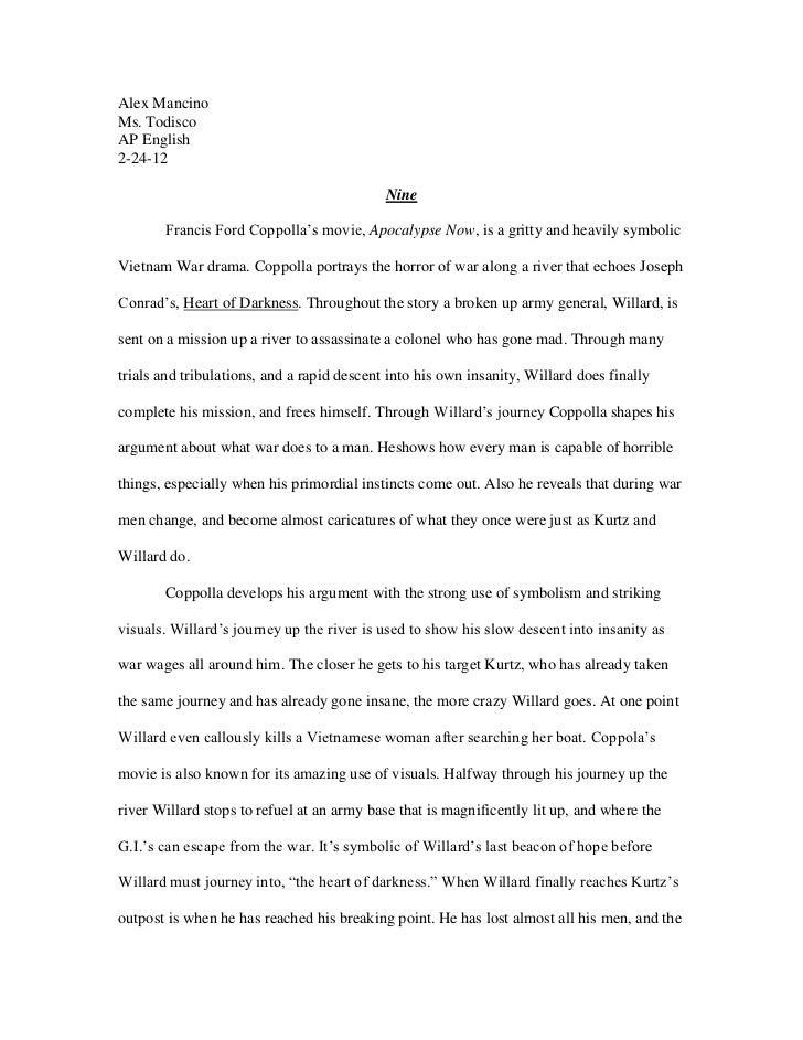 Alex MancinoMs. TodiscoAP English2-24-12                                            Nine       Francis Ford Coppolla's mov...
