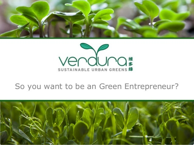 So you want to be an Green Entrepreneur?
