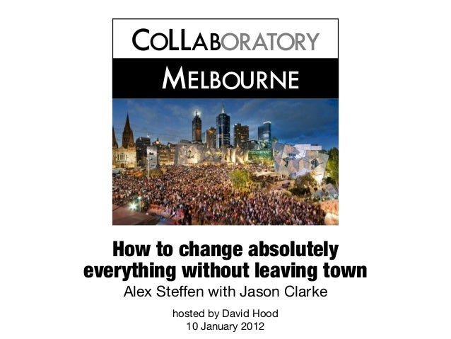 C LLAB RAT RYOOO MELB URNEO How to change absolutely everything without leaving town Alex Steffen with Jason Clarke hosted...