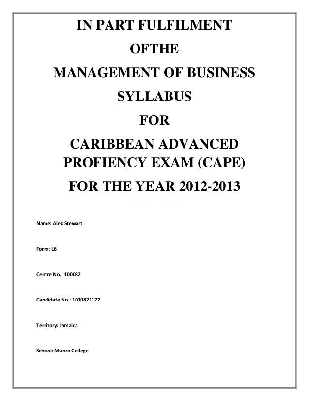 CAPE Management Of Business Unit 1 IA