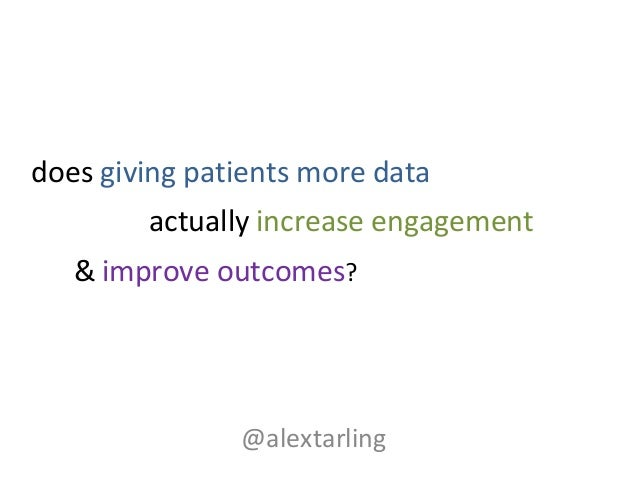actually increase engagement @alextarling does giving patients more data & improve outcomes?