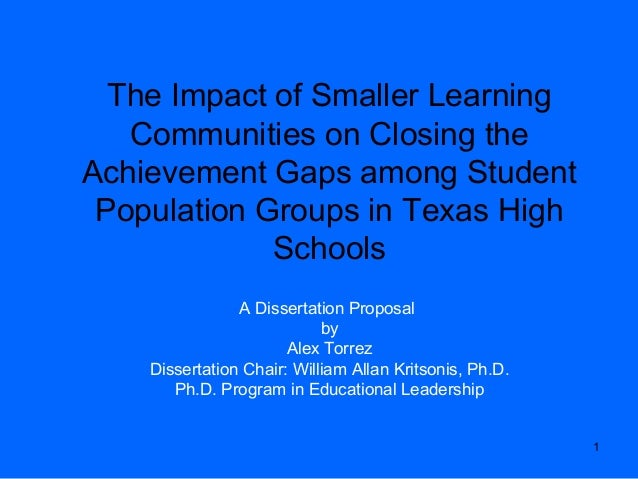 1 The Impact of Smaller Learning Communities on Closing the Achievement Gaps among Student Population Groups in Texas High...