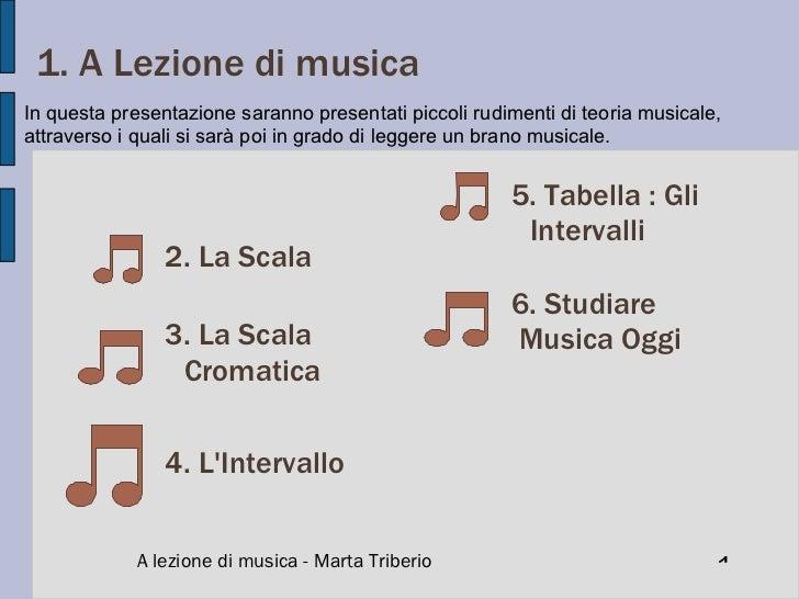 1. A Lezione di musica Indice: 2. La Scala A lezione di musica - Marta Triberio 3. La Scala Cromatica 4. L'Intervallo 5. T...