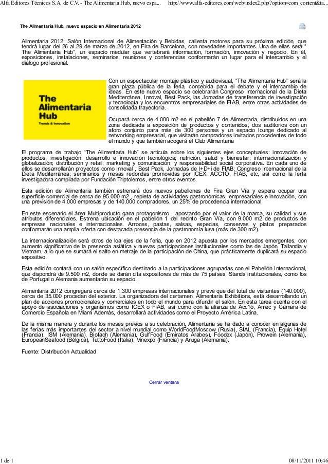 Alfa Editores Técnicos S.A. de C.V - The Alimentaria Hub, nuevo espa...                                  .                ...