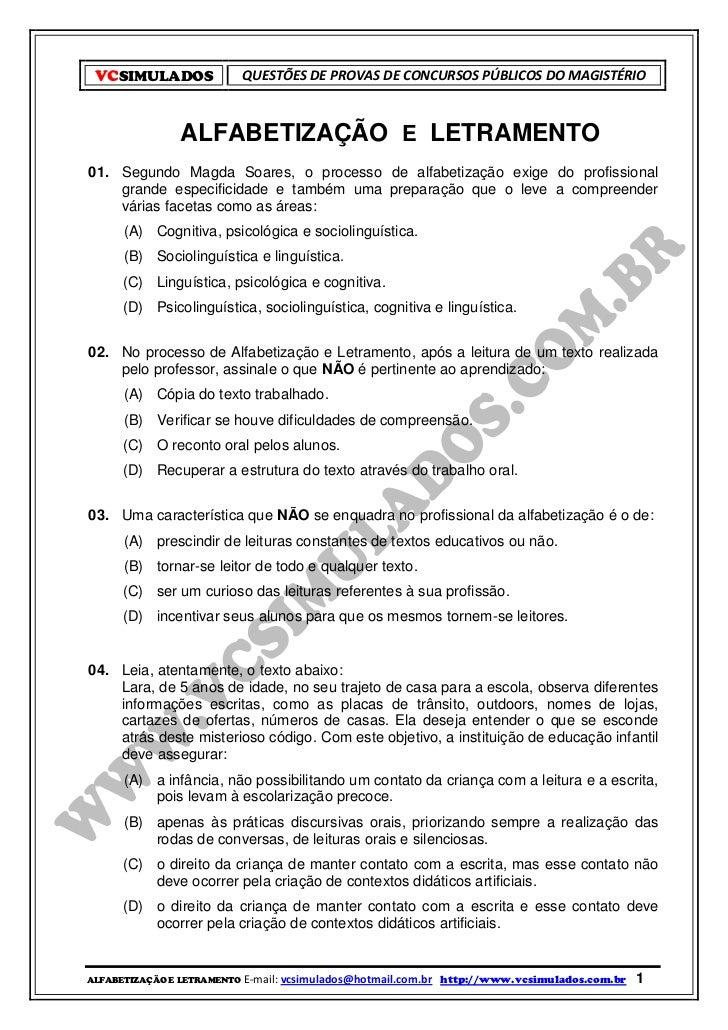 alfabetizaÇÃo e letramento simulado com 50 questÕesvcsimulados questÕes de provas de concursos pÚblicos do magistÉrio