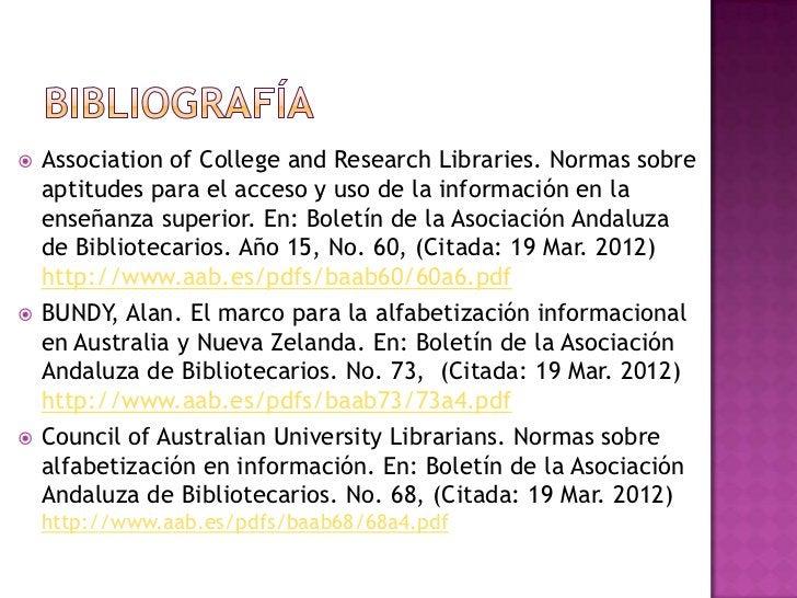    Association of College and Research Libraries. Normas sobre    aptitudes para el acceso y uso de la información en la ...