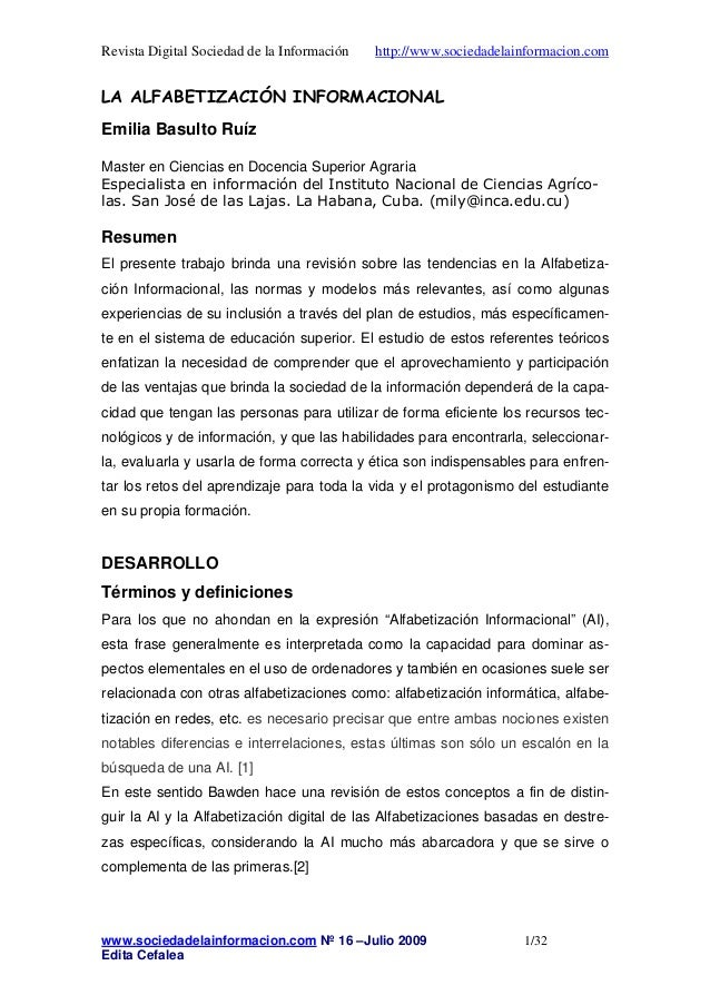 Revista Digital Sociedad de la Información http://www.sociedadelainformacion.com  LA ALFABETIZACIÓN INFORMACIONAL  Emilia ...