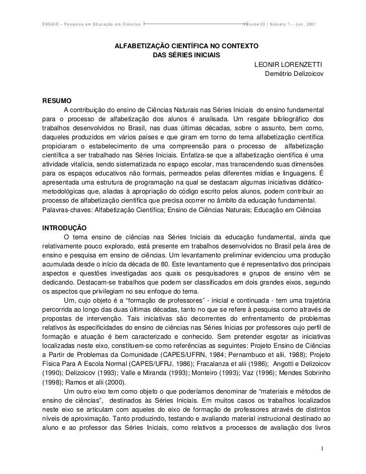 ENSAIO – Pesquisa em Educação em Ciências                            Volume 03 / Número 1 – Jun. 2001                     ...