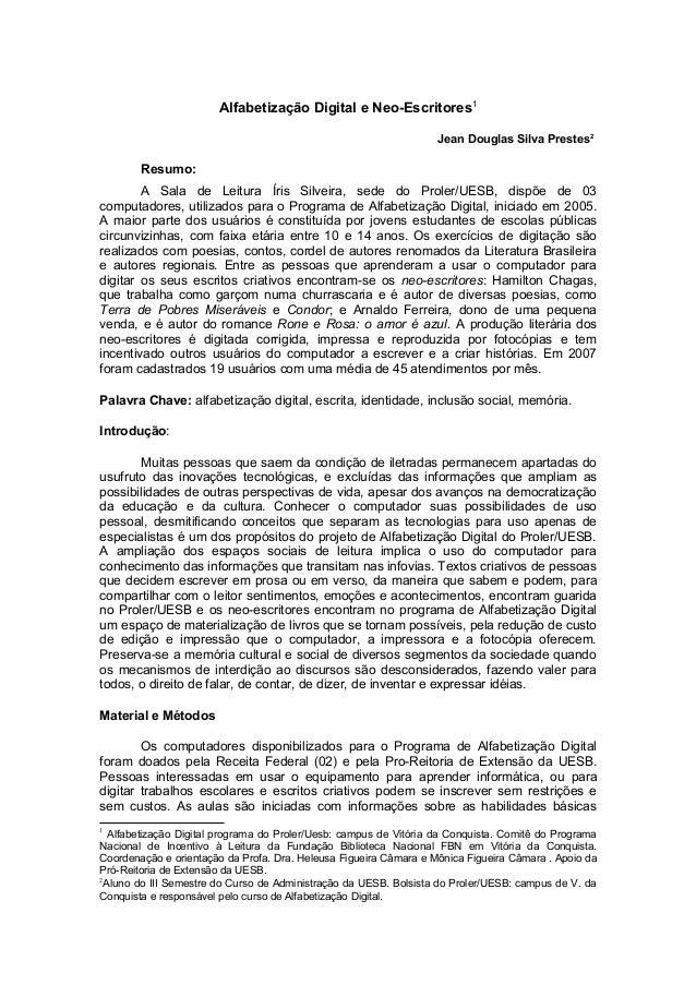 Alfabetização Digital e Neo-Escritores1                                                                   Jean Douglas Sil...