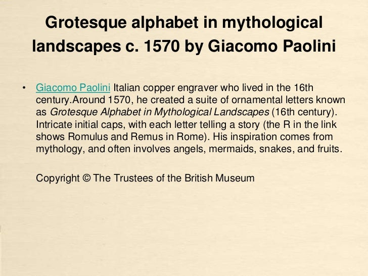 Grotesque alphabet in mythological  landscapes c. 1570 by Giacomo Paolini• Giacomo Paolini Italian copper engraver who liv...