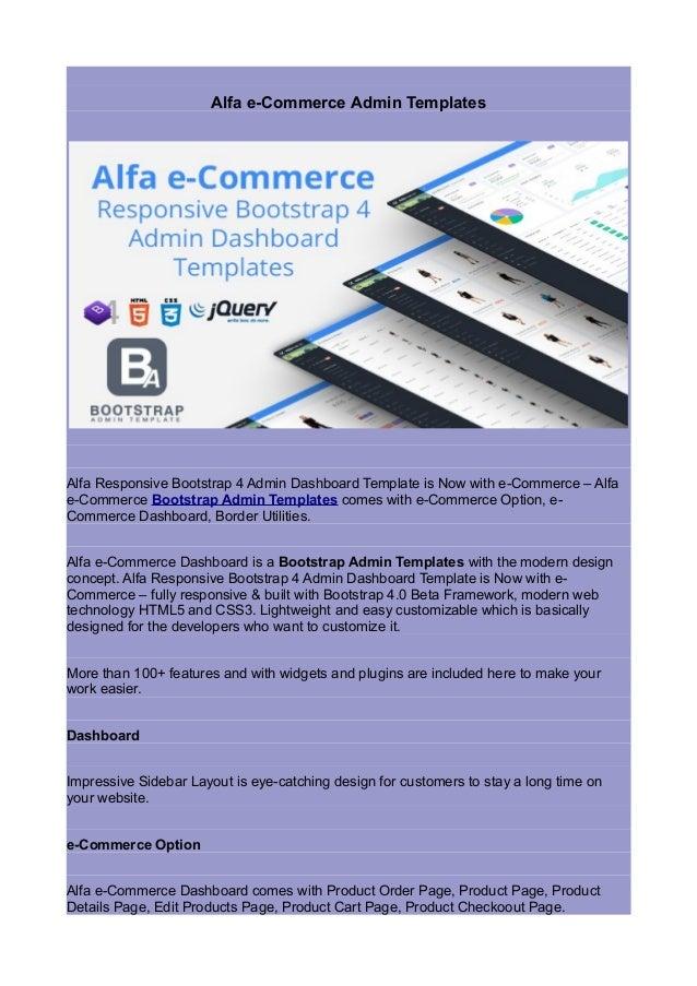 Alfa e commerce admin templates