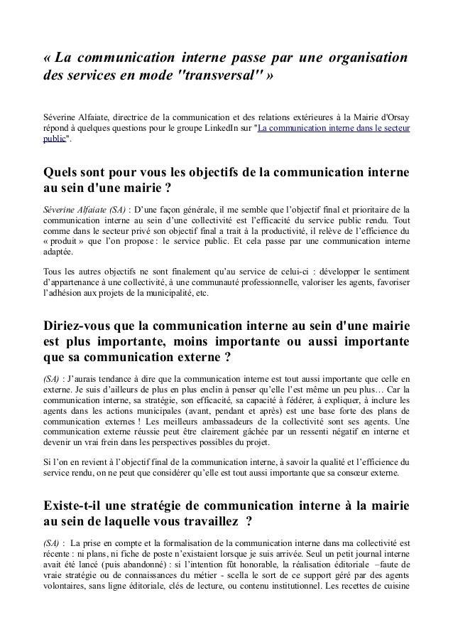 « La communication interne passe par une organisation des services en mode ''transversal'' » Séverine Alfaiate, directrice...
