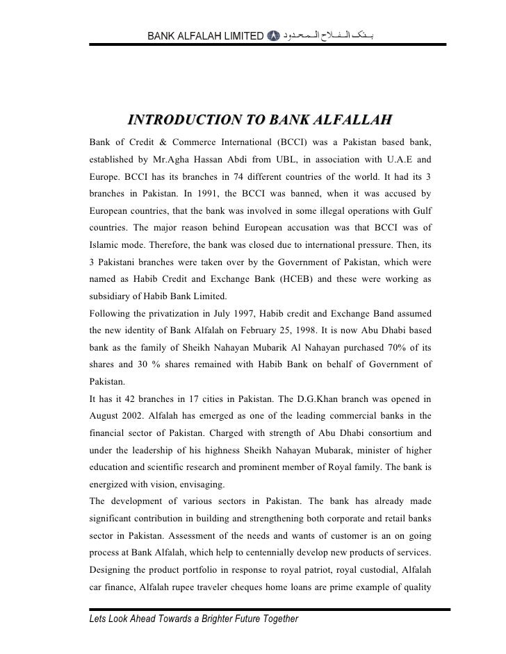 bank alfalah introductio This report includes the introduction of banking, introduction and history of the  bank alfalah, the strategies, policies which they have implemented, about.