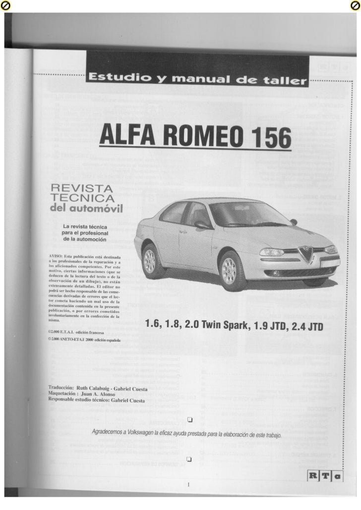 alfa romeo 156 manual de taller rh slideshare net alfa romeo 156 gta service manual alfa 156 service manual download