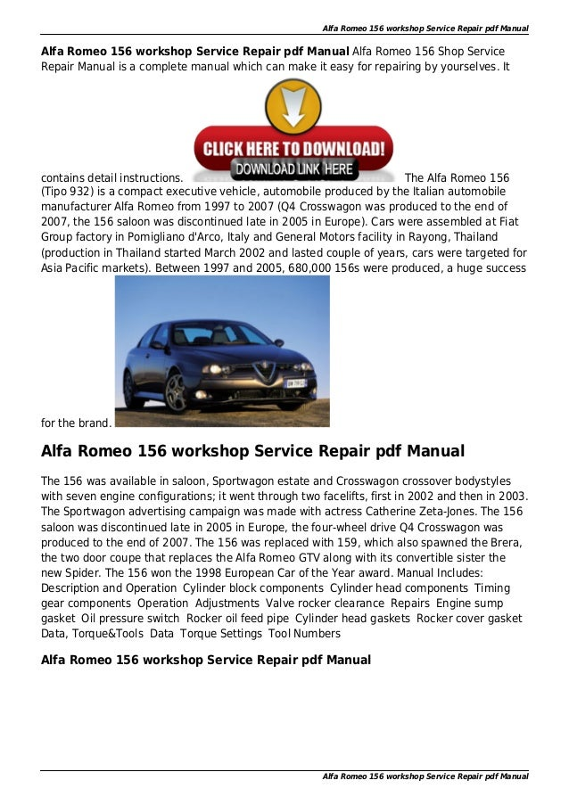 alfa romeo 156 factory service repair pdf manual. Black Bedroom Furniture Sets. Home Design Ideas