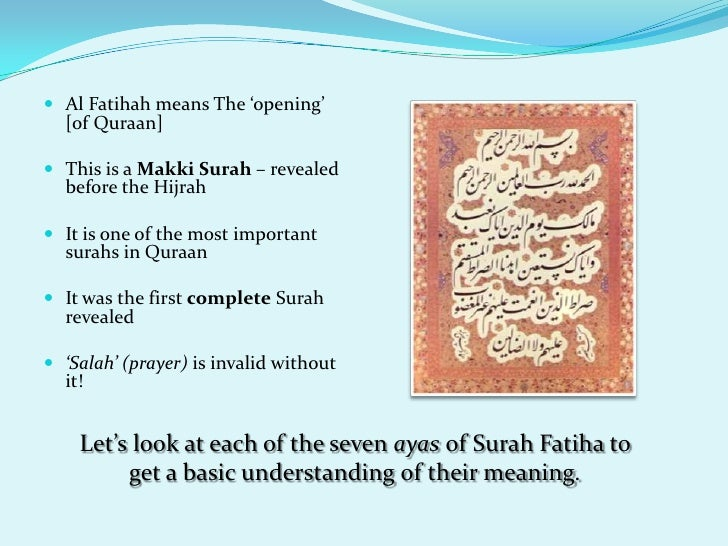 Explaining Surah Al-Fatiha - The Language of the Quran - SAIOI