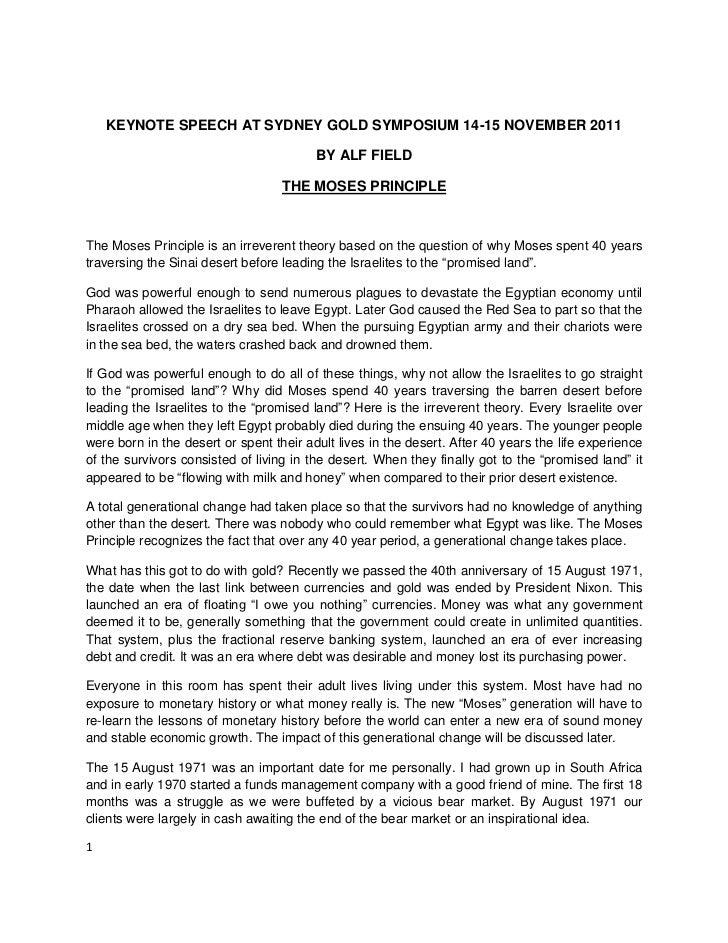 KEYNOTE SPEECH AT SYDNEY GOLD SYMPOSIUM 14-15 NOVEMBER 2011                                         BY ALF FIELD          ...