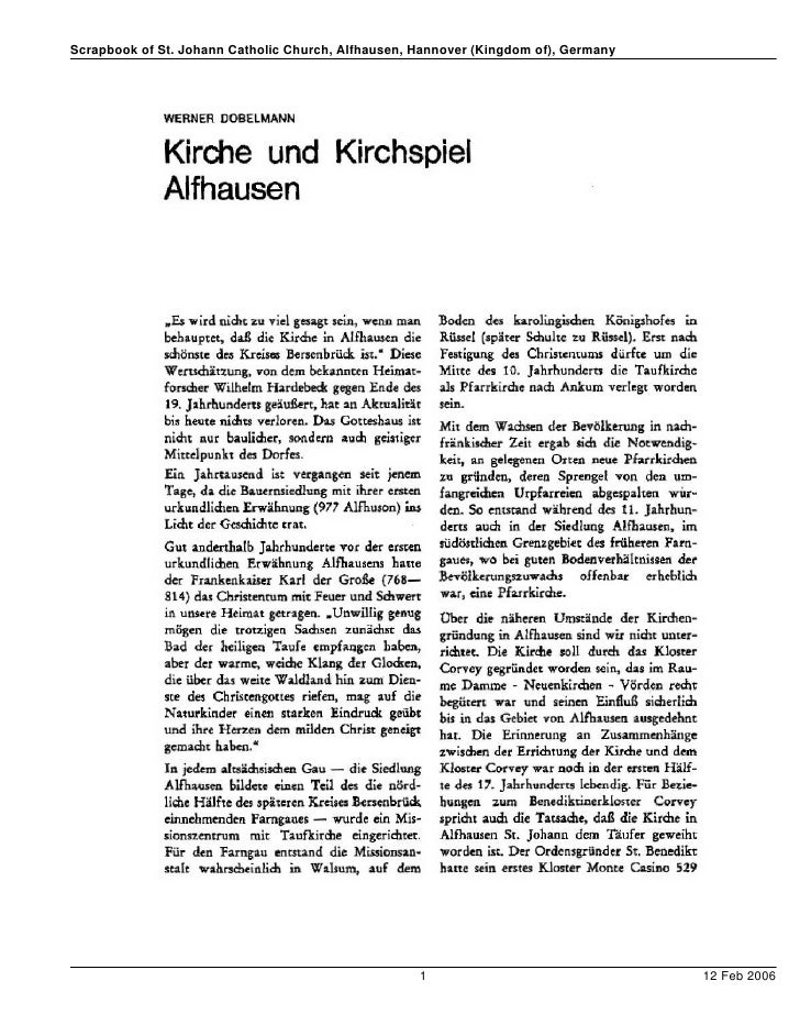 Scrapbook of St. Johann Catholic Church, Alfhausen, Hannover (Kingdom of), Germany                                        ...