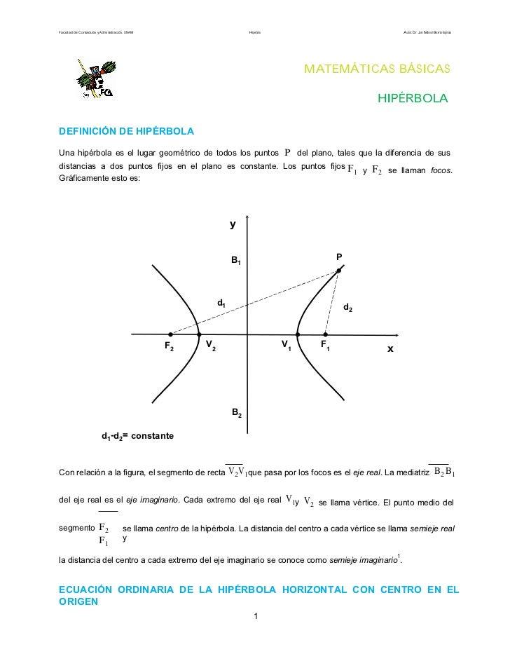Facultad de Contaduría y Administración. UNAM                               Hipérbola                                     ...