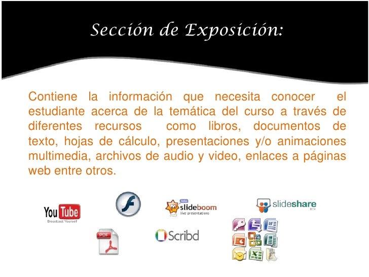 Sección de Exposición:<br />Contiene la información que necesita conocer  el estudiante acerca de la temática del curso a ...